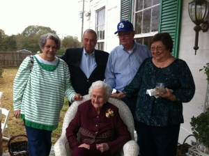 My Great-Aunt Sissy with her brother Bubba (my grandfather's) kids - Aunt Carol, Daddy, Uncle Pat, & Aunt Polly.